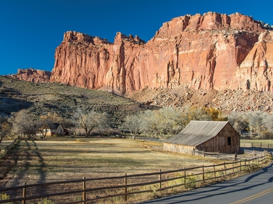 Gifford House and Pendleton BarnWindgate sandstone towers above historic Fruita farms and homes