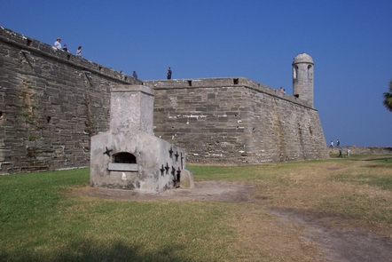 Castillo de San Marcos Hot Shot FurnaceThis furnace, in the water battery on the east side of the Castillo, heated cannonballs red hot to be fired at wooden vessels.