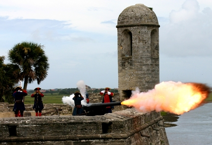 Castillo de San Marcos Cannon FiringCannon firing demonstrations are scheduled five times a day every Friday, Saturday, and Sunday.