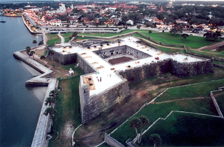Castillo de San Marcos Aerial Viewthe Castillo commands the northern edge of the heart of downtown St. Augsutine.