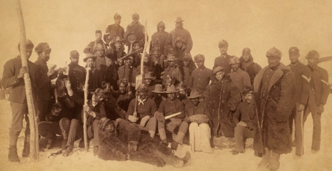 25th Infantry Buffalo SoldiersBuffalo Soldiers of the 25th Infantry pose for a photo at Ft. Keough in Montana, c.1890