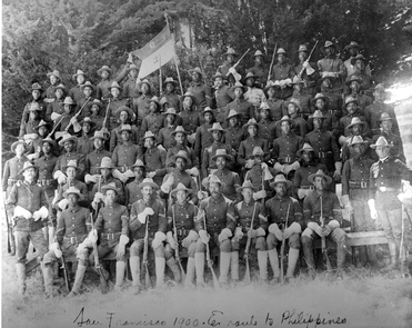 Buffalo Soldiers of the 9th CavalryBuffalo Soldiers of the 9th Cavalry take a company photo prior to being shipped out to the Philippines, c.1900