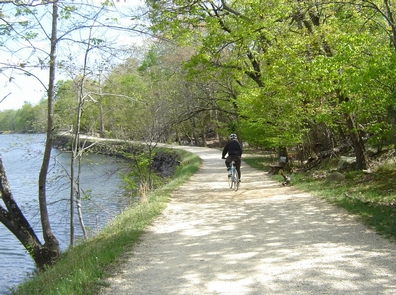 Bike rider along the towpathThe towpath offers a serene bike riding experience.