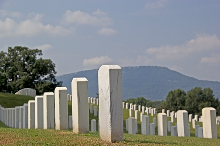 Lookout Mountain and the National CemeteryThe graves of fallen soldiers from Chickamauga to present dot the landscape in Chattanooga as Lookout Mountain looms in the background
