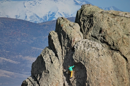 City of Rocks Climber on granite formation called The AnteaterOver half of the 100,000 annual visitors to City of Rocks come to experience climbing
