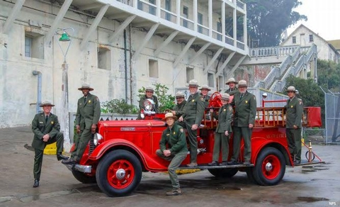 Alcatraz Rangers and FiretruckAlcatraz Rangers and 1934 Diamond T Firetruck