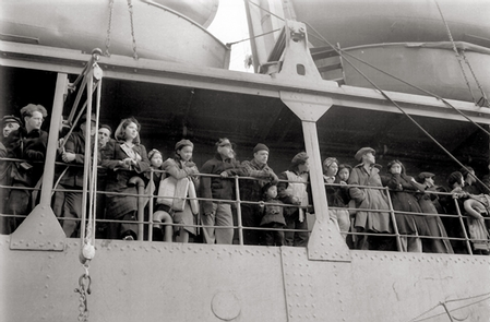 Evacuation and internmentPribilof villagers, here lining the railing of the USAT Delarof on the day of their departure (June 15, 1942), were evacuated with only a few hours notice and no idea of their ultimate destination.