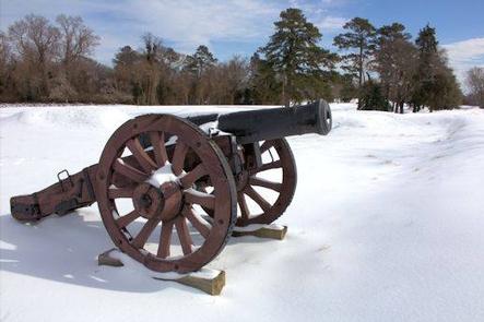 Yorktown BattlefieldReconstructed Revolutionary War Canon in Winter
