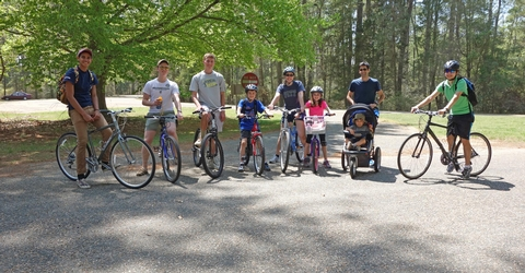 Bikers at Entrance to Historic Jamestowne Tour RoadWeekend Biking Near Tour Road