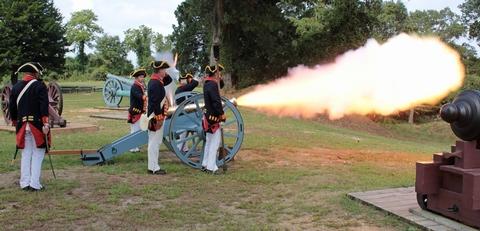 The Royal Artillery Living History Team Firing Yorktown Battlefield's 6 PounderLiving History Program