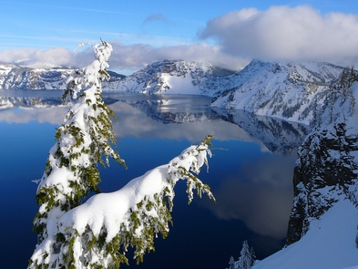Crater Lake in WinterA view of Crater Lake in the winter