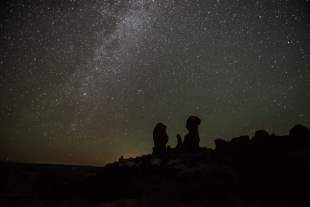 Milky Way over the Garden of EdenArches offers some excellent night sky viewing.