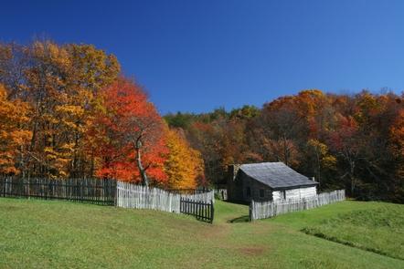 Hensley SettlementWeathered log cabins greet visitors to Hensley Settlement