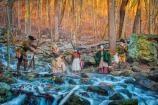 Pioneers Crossing CreekHistory comes alive