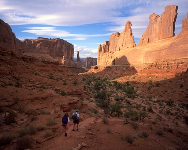 Park Avenue TrailThe Park Avenue trail is one of many hiking trails at Arches, ranging from easy to strenuous.