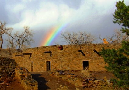 Rainbow over the Great KivaRainbow over the reconstructed Great Kiva