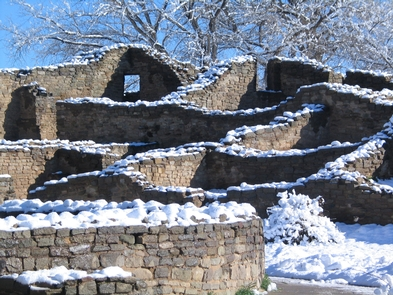 Winter snow on Aztec West great house