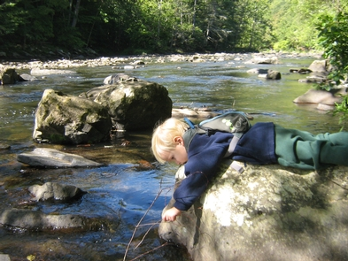 Enjoying the dayA young hiker makes his own connection with Bluestone National Scenic River.