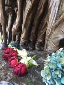 Flowers at the Shaw MemorialFlowers laid at the feet of the soldiers on the Robert Gould Shaw Memorial.