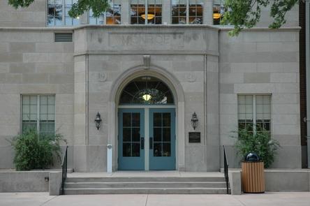 Exterior of Monroe SchoolFront entrance to historic Monroe school.