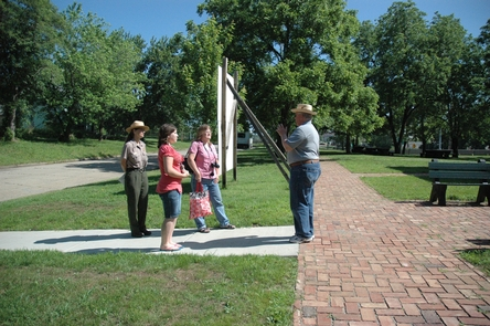 National park programsVisitors join a national park program around the Monroe school building and grounds