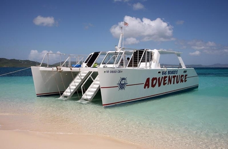 Adventure, concessioner vessel at West Beach, Buck Island Reef NMAdventure, unloaded at West Beach, Buck Island Reef NM.
