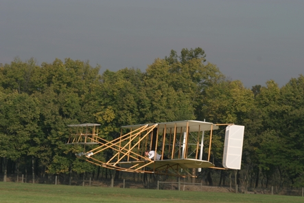 1905 Wright Flyer replicaThe 1905 Wright Flyer replica during a demonstration flight.