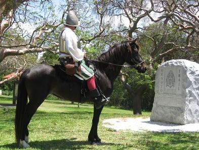 De Soto MonumentReenactor Bill Boston on his horse Dixie in front of the De Soto Monument.