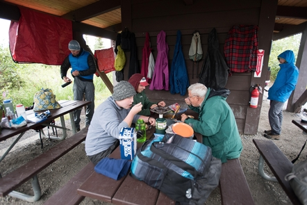 ShelterWonder Lake Campground has a sheltered area for campers to eat out of the rain.