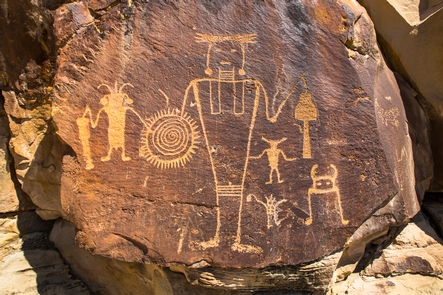 McKee Springs PetroglyphsThe Fremont people left petroglyphs on many of the rock cliffs within Dinosaur National Monument including those at McKee Springs