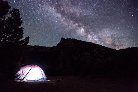 Night Sky over TentDinosaur's dark skies provides dramatic views of the Milky Way Galaxy