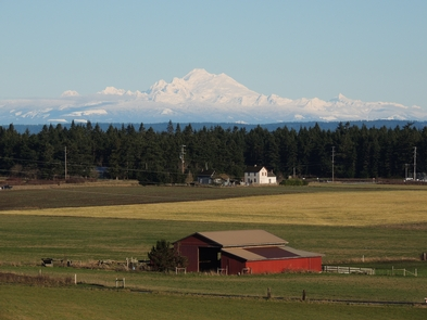 Mt Baker and the historic Smith BarnThe views from the prairie overlook tell a story of farming and community that stretches back for centuries.