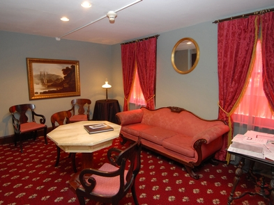 """The Reading RoomThe reading room at the Edgar Allan Poe National Historical Site is furnished according to Poe's essay """"The Philosophy of Furniture."""""""