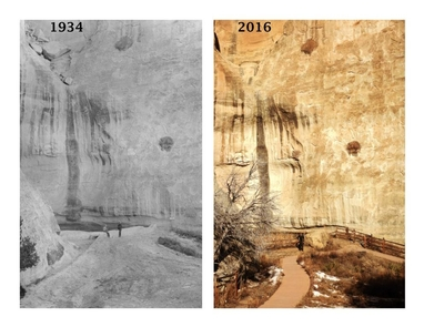 Then and Now at the PoolA ranger recreates a historic photograph at El Morro near The Pool.