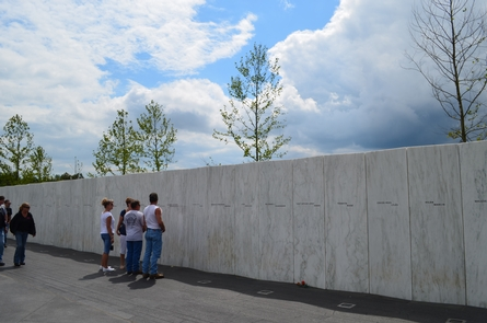 Wall of Names at the Memorial Plaza at the crash site