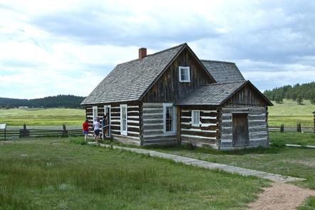 Hornbek Homestead VisitorsVisitors explore the Hornbek Homestead, built in 1878.