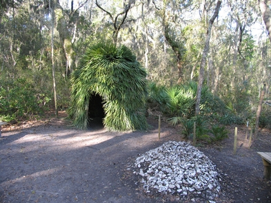 Timucuan HutThe recreated Timucuan hut at Fort Caroline.