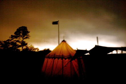 Tent in the Fort at NightA lone tent in the fort during a living history weekend.