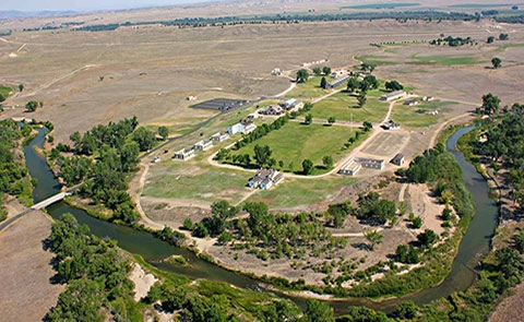 Arial View of Fort Laramie NHS From the SouthOverview of Fort Laramie as it exists today with many of the historic buildings fully restored and refurnished and numerous other ruins and foundations.