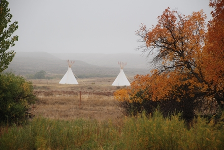 Tipis Across Laramie River in FallTipis were a common scene at Fort Laramie from 1834-1872.  At times, during treaty negotiations dozens of tipis could be found here.