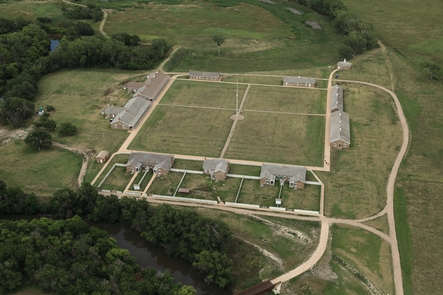 Aerial Photo of Fort LarnedThe historic sandstone buildings at Fort Larned date to 1868