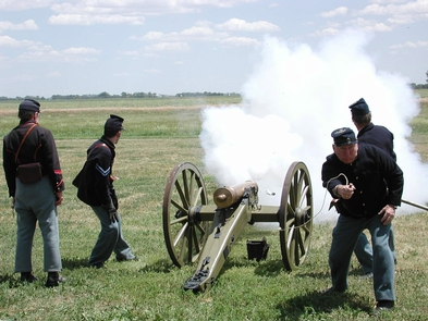 Artillery DemonstrationVolunteers demonstrating the use of a mountain howitzer during one of Fort Larned's living history weekends.