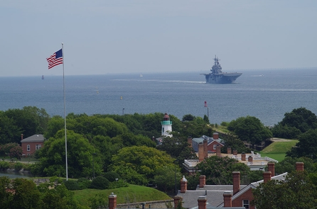 Fort Monroe with USS KearsargeFort Monroe's Flagstaff is the first US flag the sailors of the USS Kearsage see when returning to the waters of Hampton Roads.