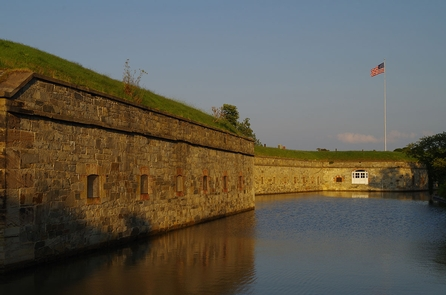 Fort Monroe Flagstaff BastionBrilliant colors of the setting sun offer unique views of the largest stone fortification ever built in the United States.