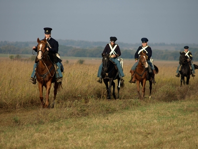 Dragoons on the PrairieSoldiers on horseback patrolling the prairie