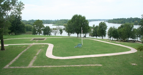 Foundations of First Fort SmithFoundations of the first Fort Smith with Arkansas River in the background