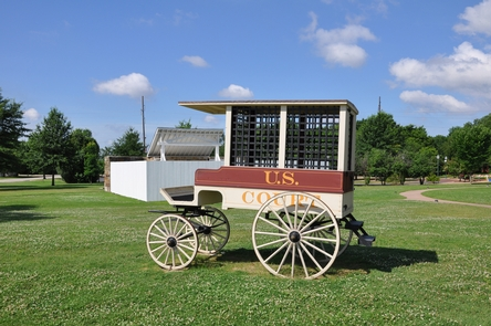 Jail Wagon and GallowsA jail wagon like this one was use the transport prisoners to the Federal Courthouse 6th Street.