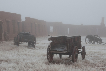 Freezing Fog in Mechanics CorralOne of the most photographed areas of the monument, the Mechanics Corral onced serviced wagons that travelled along the Santa Fe Trail.