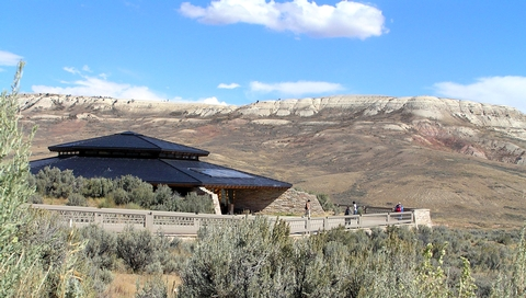 Visitor CenterThe visitor center is nestled in a sagebrush landscape beneath Fossil Butte. Over 300 fossils are on exhibit.