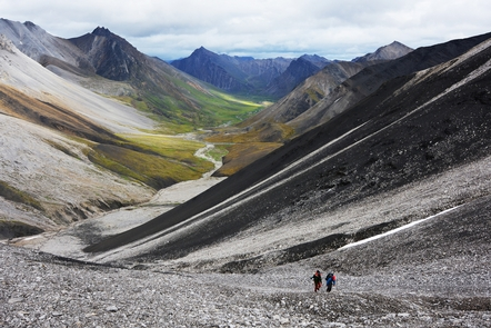Hikers crossing a mountain passHikers choose river valleys as corridors when hiking over mountain passes.